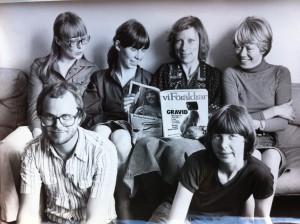 Vi Föräldrars redaktion. Chefredaktör Yvonne Berlin t v och andra från höger Eva Alge, art director.