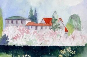 Vita Huset på Rudolf Steinerseminariet i en akvarell av Arne Klingborg