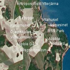 Satellitbild över den antroposofiska delen av Ytterjärna.